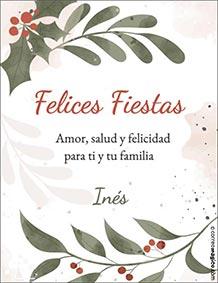 Tarjetas de Navidad para imprimir. Amor, salud y felicidad