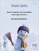Tarjetas de Navidad para imprimir. Muñeco de nieve
